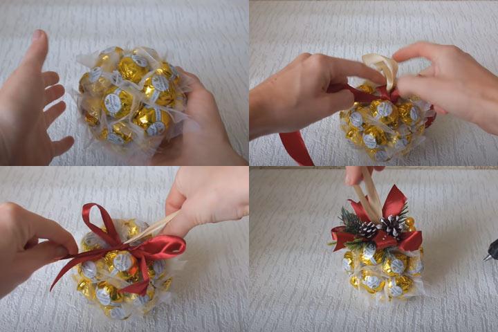 Шар из конфет своими руками (этап 3) пошаговая инструкция