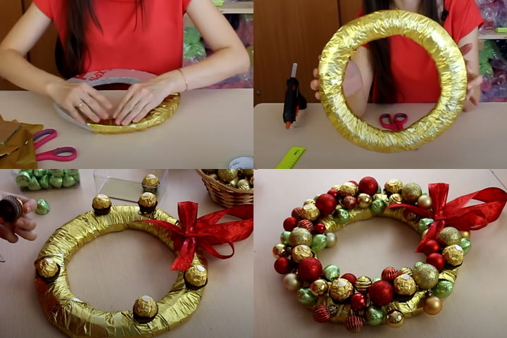 Новогодний венок из конфет (этап 2) - пошаговая инструкция