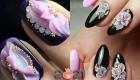 объемный акриловый декор и черный гель-лак - модные ногти 2021 года