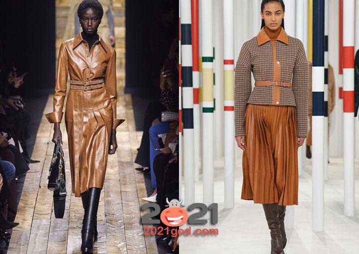 Модные луки зимы 2020-2021 года - кожаная юбка в складку