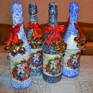 Прикольные бутылки ручной работы на Новый 2021 год