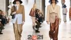 Модные бежевые  брюки из кожи на 2021 год