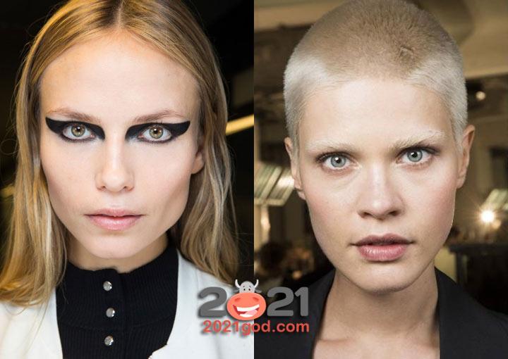 Тренды макияжа 2021 года - обесцвеченные брови
