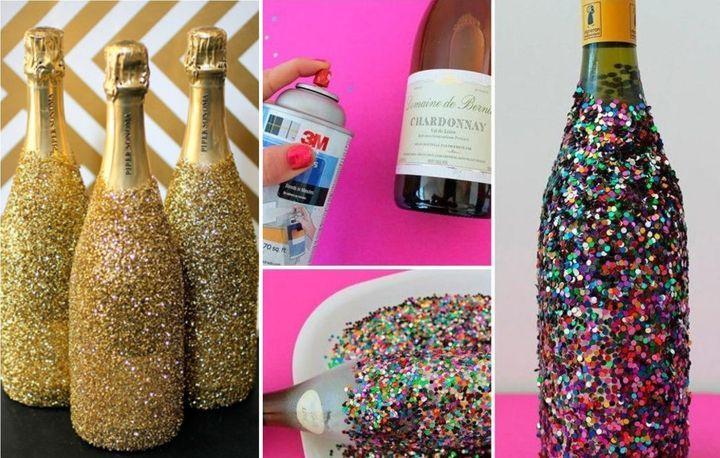 Новогоднее декорирование бутылки с напитками