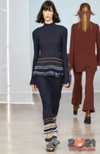Брючный костюм с бахромой- вязаная мода зимы 2020-2021