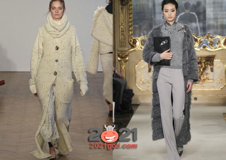 Длинное вязаное пальто - тренд зимы 2020-2021