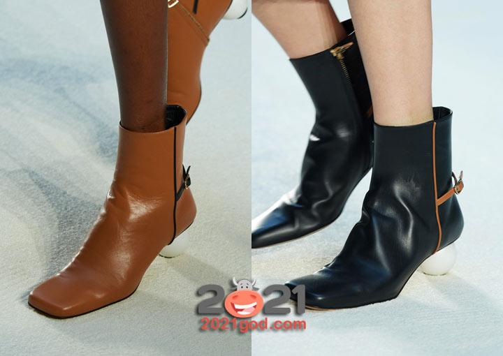 Модные ботильоны 2021 года с квадратным носком