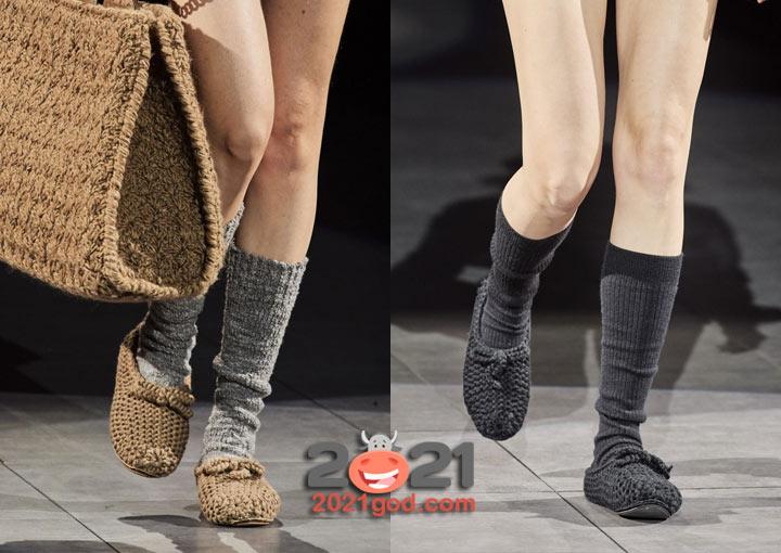 Вязаные туфли осень-зима 2020-2021