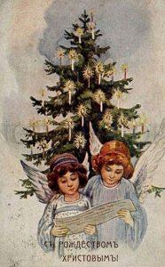 Ретро открытка с ангелами на Рождество