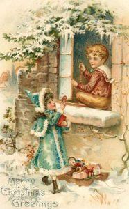 Ретро открытка с детьми на Рождество