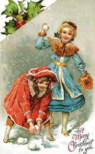 Красивая ретро открытка на Рождество Христово