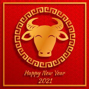 Картинка на Новый Год Быка 2021