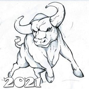 Картинка раскраска - красивый бык на 2021 год