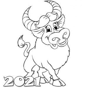 Картинка раскраска - веселый бык на 2021 год