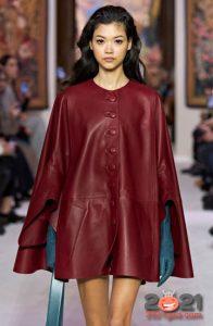 Модный кожаный кейп осень-зима 2020-2021