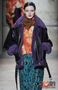 Модная дубленка с цветным мехом осень-зима 2020-2021