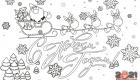 Открытка раскраска С новым 2021 годом - Санта и олени