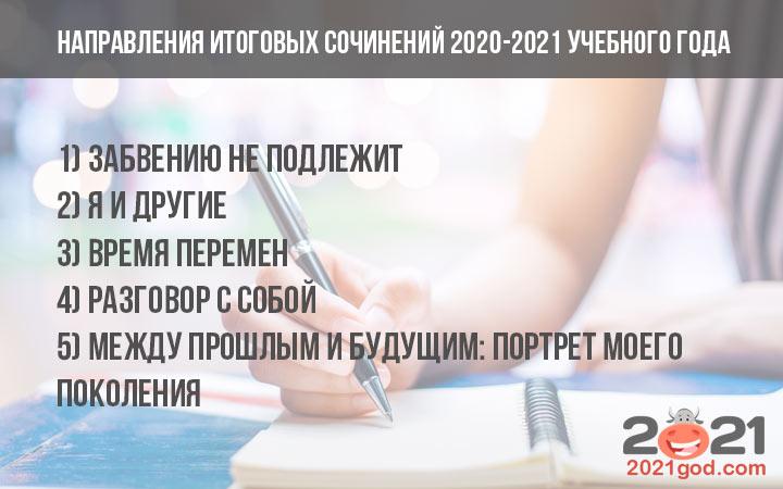 Направления итогового сочинения 2020-2021 учебного года