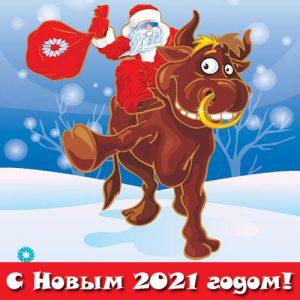 Мини-картинка с быком и Дедом Морозом на Новый Год 2021