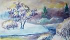 Рисунки на Новый 2021 год - пейзаж зимний лес