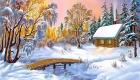 Рисунки на Новый 2021 год - пейзаж домик в деревне