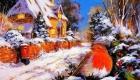 Рисунки на Новый 2021 год - пейзаж домик и снегирь
