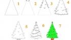 простой способ нарисовать елку на Новый Год 2021