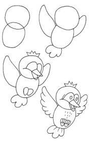 Рисунки на Новый Год 2021 - птичка в полете