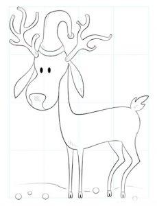 Рисунки на Новый Год 2021 - олень Санты