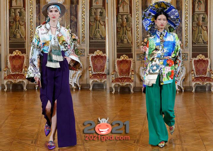 Высокая мода Dolce & Gabbana зима 2020-2021 - брюки с разрезами