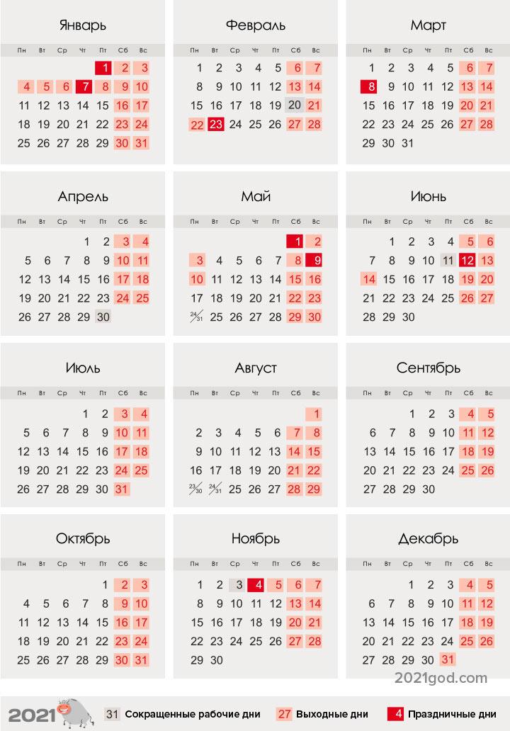 Все праздники 2021 года в России, календарь