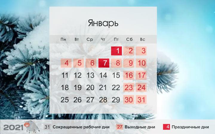 Как отдыхаем на Новый 2021 год - календарь января