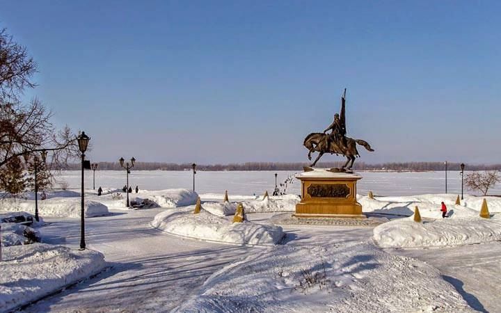 Набережная Самары зимой