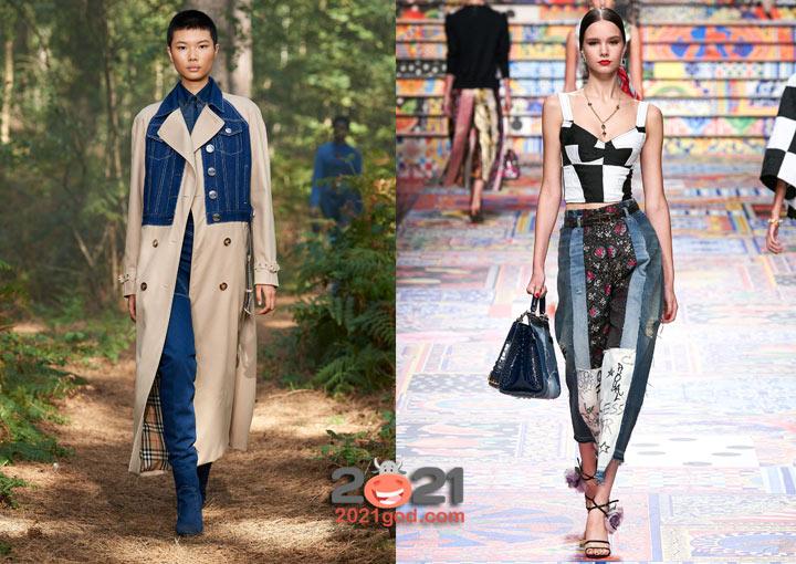 модный комбинированный деним - весна-лето 2021
