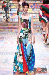 Платье в стиле пэчворк весна-лето 2021