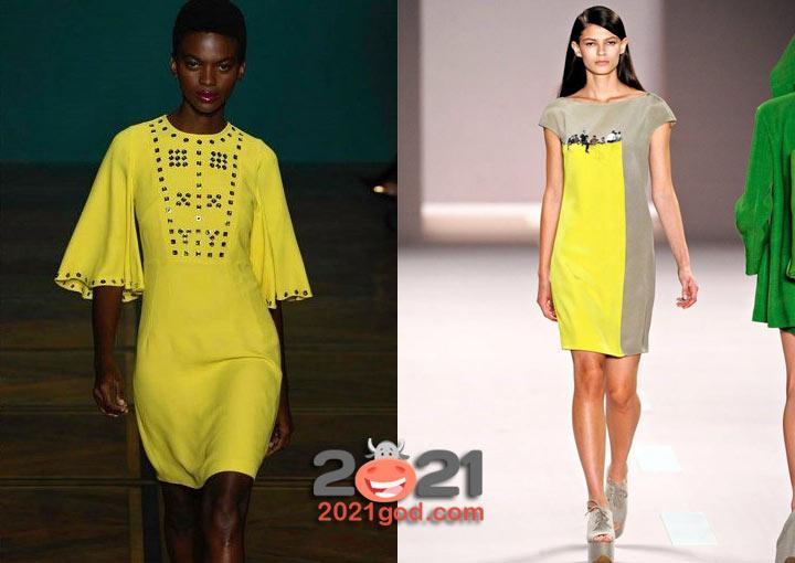 Модные платья весна-лето 2021 - сочетание серого и желтого