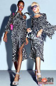 Модные черно-белые платья в зоологической тематике весна-лето 2021