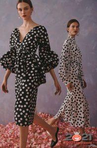 Модные черно-белые платья в горох весна-лето 2021