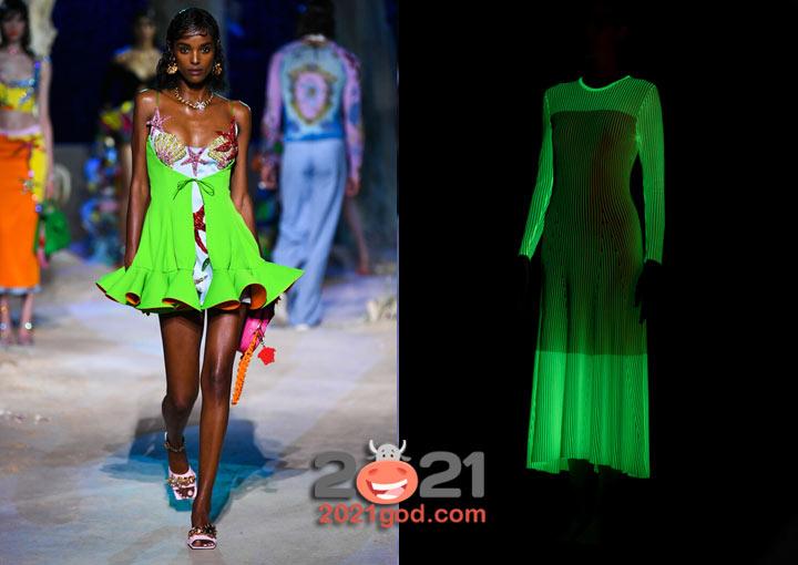 Модные неоновые платья весна-лето 2021