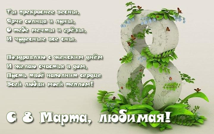 Поздравления и пожелания в стихах для любимой с Международным женским днем